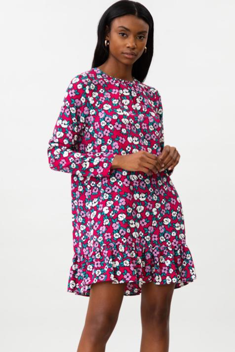 Este vestido estampado mini de manga larga de Lefties es súper barato y lo puedes llevar con zapatillas o botines