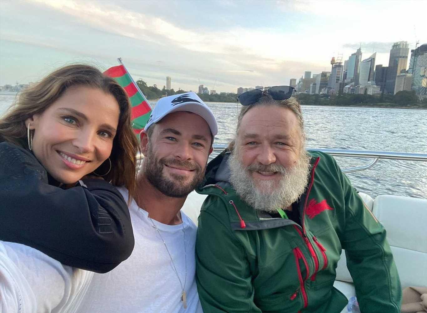 Elsa Pataky y Chris Hemsworth, diversión en el rugby con otras estrellas de Hollywood