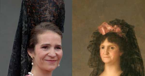 El día que la infanta Elena se escapó de un cuadro de Goya: madroños, encajes y abanico