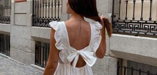 El vestido mariposa con la espalda más bonita es este blanco y midi de Mango que tienen las influencers