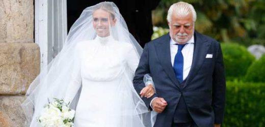La boda de Lucía Bárcena y Marco Juncadella: del vestido minimalista de la novia al 'look' de madrina de la princesa Cristina de Hohenlohe